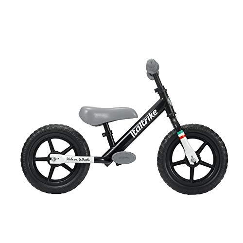Italtrike Pista – Bicicleta de acero – Neumáticos de EVA de 12 pulgadas – Sillín ajustable – Cuña pies y asas antideslizantes – A partir de 2 años – Negro