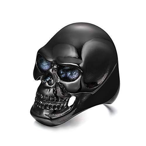 Anillos de acero inoxidable para hombre, diseño de calavera, color negro
