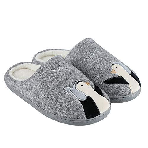 Zapatillas De Algodón para Mujer, Pingüino Lindo Rosa/Gris Forro Cómodo Y Cálido Suela De Goma Antideslizante Zapatos De Interior para El Hogar