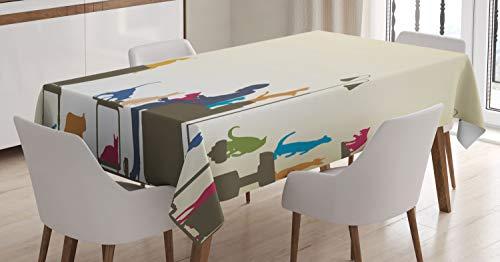 ABAKUHAUS Moderno Mantele, Señora Loca del Gato Inicio, Estampado con la Última Tecnología Lavable Colores Firmes, 140 x 200 cm, Multicolor