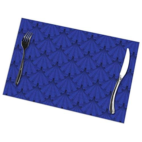 Nar Land Patriots Holiday Blue Ribbon Rosettes Set de Table pour Table à Manger Ensemble de 6 Tapis de Table résistants à la Chaleur et antidérapants 12x18 po