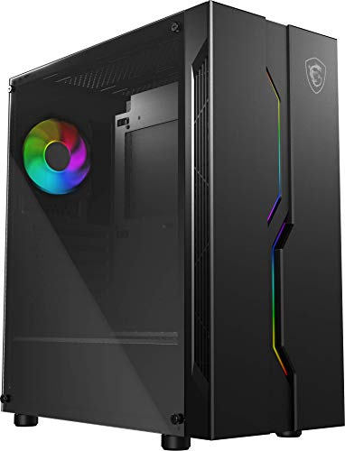 MSI MAG VAMPIRIC 010X Mid-Tower Caja de PC Gaming, Negro, 1 x 120 mm ARGB Ventilador,Sincronización de luz mística,Hub MSI ARGB con controlador de iluminación integrado,Panel Cristal Templado