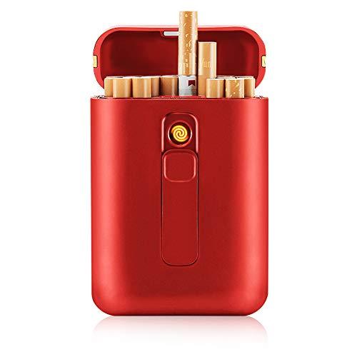 SANSH Zigarettenetui mit Feuerzeug, Zigarettenbox, für 20 Stück normale Zigaretten, tragbar, King-Size-Zigaretten, USB-Feuerzeug, wiederaufladbar, flammenlos, winddicht, elektrisches Feuerzeug, rot