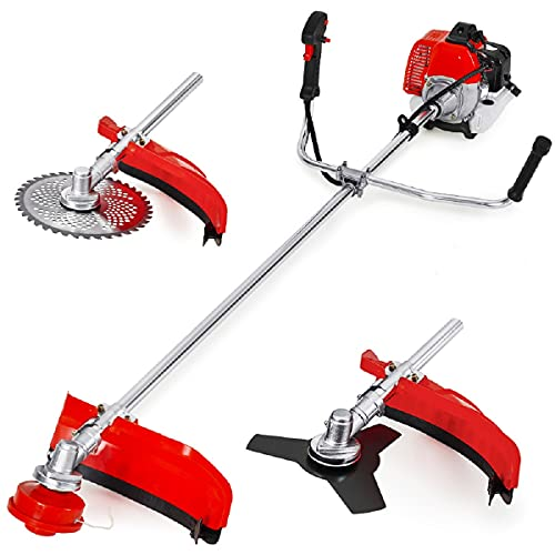 Gas String Trimmer 3-in-1 Combo, 18-Inch Cutting Path Cordless String Trimmer with Detachable Edger/Brush Cutter, 42.7cc 2-Cycle Weed Eater Gas Powered for Small Grass/Heavy Bush
