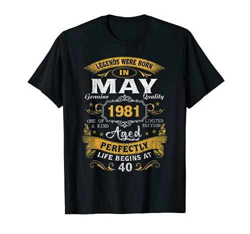 Leyendas nacidas en mayo de 1981 40 cumpleaños regalos 40 años Camiseta