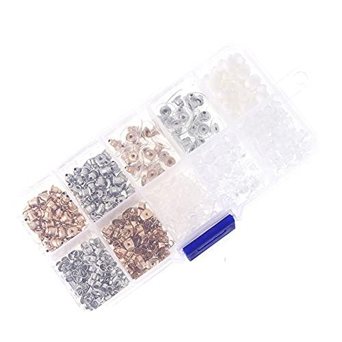 NRRN Kit de respaldos de pendiente, goma de metal, tapón de plástico para pendientes, almohadilla de seguridad, forma redonda, soporte de pendiente
