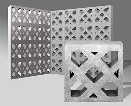 1 Stück Formstein Beton mit Ornament Gitter - 25 * 25 * 9cm - Sichtschutz Mauerstein