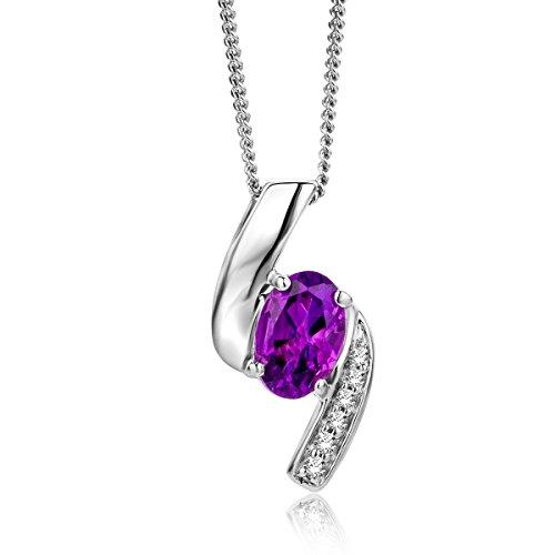 Miore - Collar de diamantes y amatista morada para mujer - Cadena y colgante de oro blanco de 9 quilates (375) - 45 cm