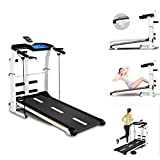 sakd Folding Treadmill, Non-Electric Walking & Running Treadmill with Incline for Home, Gym, Under Desk Treadmill, Sit-ups Pannel, T-wisting, Twist Board, Tablet Stand, 5-in-1 Mechanical Treadmill
