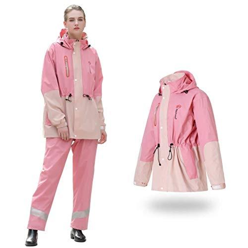Mannen en regenjassen vrouwen, waterproof regenjassen, dik regenjassen en regen broek split kostuums for accu auto motorfiets outdoor camping tent regenjassen (Color : Pink, Size : X-Large)