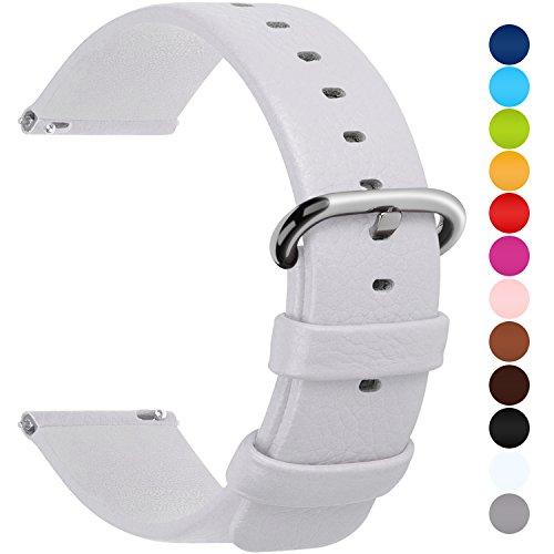 Fullmosa Uhrenarmband 20mm Leder in 12 Farben, Kalbsleder Armband für Damen Heren Lederarmband mit Edelstahl Metall Schließe, 20mm,Weiß