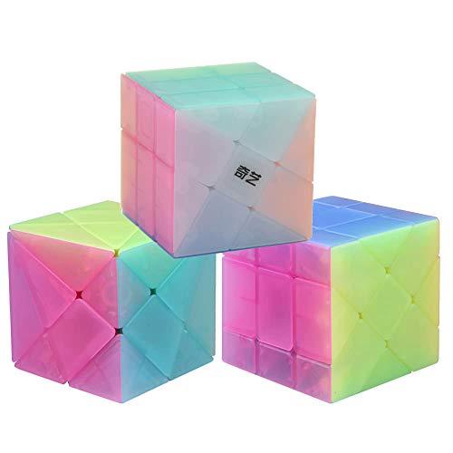 OJIN Jelly Color Design Series Series-Pack de 3 (Incluye 3X3 Cubo de Rompecabezas con ángulo de fluctuación, Molino de Viento, Forma de 2x3 Mod, Fisher Cube 3x3x3 Forma Puzzle de Formas)