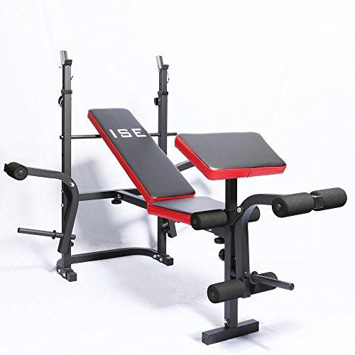 ISE Banc de Musculation Multifonction Réglable Pliable Inclinable Fitness pour Entrainement Complet...