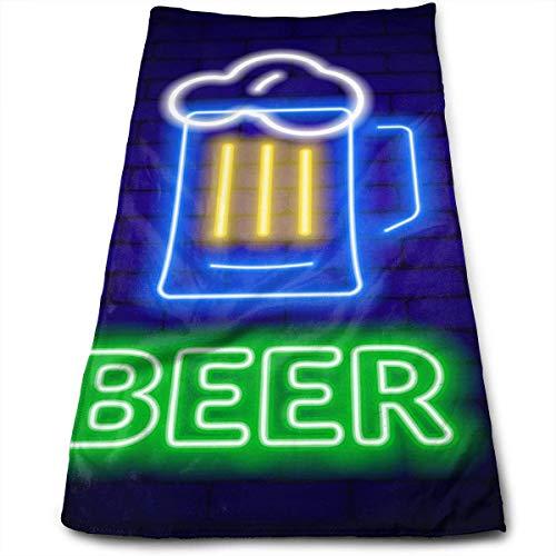 DJNGN Letrero de Cerveza de neón en Pared de ladrillo Toalla Personalizada de algodón Toallas de baño y Piscina de Playa de Viaje Personalizadas, Abs de Agua de Microfibra