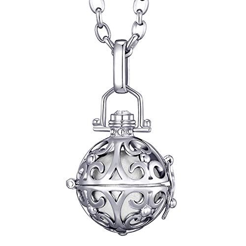 Morella® Damen Halskette Edelstahl 70 cm mit Ornament Anhänger und Klangkugel weiß Ø 16 mm in Schmuckbeutel