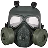 Feeyond Casco De Máscara Protectora Táctica Pistola De Aire, Correa Ajustable De La Máscara CS De Protección Anti-Gas De Cara Completa.
