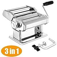 Máquina para hacer pasta elegante Life Noodle Cutter 304 Acero Inoxidable Manual máquina de cortar pasta para espaguetis frescos y lasaña Tagliatelle Fettuccine plata