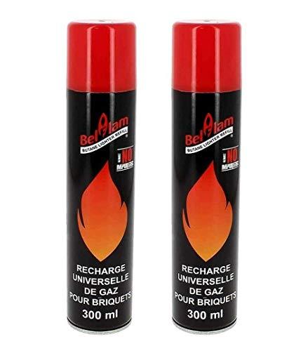 BELFLAM 2x Butangas-Nachfüllflasche für Feuerzeug, Bunsenbrenner, Flambierbrenner - Gaskartuschen mit Nachfüllgas, 100 % Reinheit, ohne Verunreinigungen - Inkl. 5 Adapter, 2 Kartuschen je 300 ml