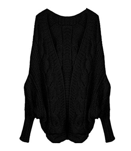Minetom Damen Herbst Winter Lose Strickjacke Batwing Pullover Cardigan Plus Größen Sweater Outwear Oberteile Schwarz