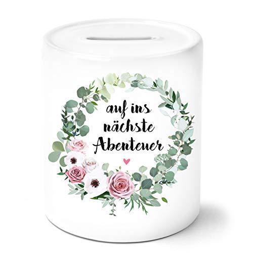 OWLBOOK Auf ins nächste Abenteuer mit Blumenkranz Spardose Geschenke Geschenkideen zum Geburtstag