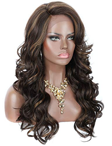 Kalyss 24' Synthetic Lace Front Wigs with Baby Hair Brown Highlights Hand Tied Ear to Ear Frontal Lace Wigs for Women Wavy Curly Glueless Realistic Looking Daily Wear Hairpiece