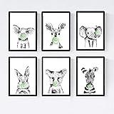 Nacnic Set 6 Posters Animales Bebes con Chicle. Elefante Cerdo Conejo Vaca Zorro Cebra.Tamaño A4...