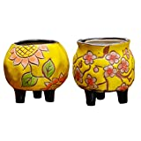 Ceramic Succlent Pots with Drainage Hole Set of 2 Hand-Painted Decorative Cactus Flower Planter Bonsai Container Handicraft as Gift for Home Office Decor (Yellow 02)