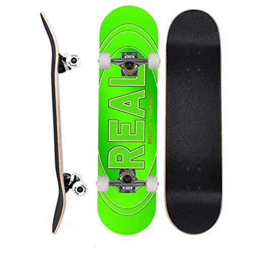 LQH Deck komplette Anfänger Skateboards 7 Ply Maple Holzplatte Pre Errichtet mit Doppel Kick-Konkav-Design for Kinder Jungen Jugendliche Anfänger 31 X8 Inch