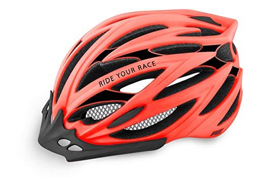 R&R Rennradhelm Arrow | Fahrradhelm | Radhelm | MTB-Helm | Triathlon-Helm | Damen und Herren (neon rot, S (54-56cm))