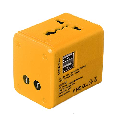 ZRYYD Global Travel Charger Adapter 2.1A Universal Travel Adapter 2USB Plug International Universal Travel Adapter (Color : Yellow)