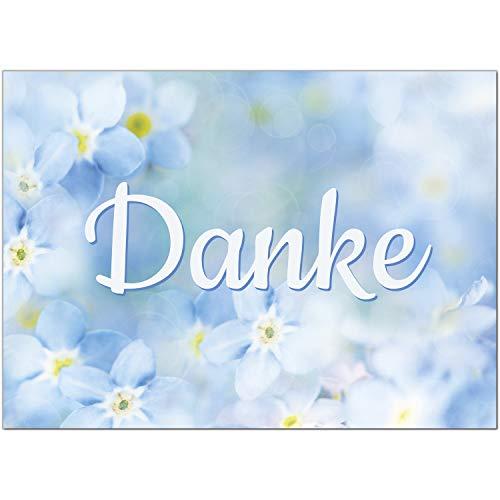 15 x Dankeskarten mit Umschlag - Blau Blumen Vergissmeinnicht - Danksagungskarten, Danke sagen, nach Hochzeit, Geburt, Baby, Taufe, Geburtstag, Kommunion, Konfirmation, Jugendweihe