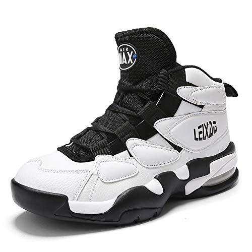 CXQWAN Chaussures de Basket-Ball Hommes, Haut Baskets Basses Sports Marche Chaussures de Course Haute Elasticité Non-Slip Convient pour Venues en Plastique intérieur et extérieur,Blanc,46