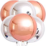 Big Metallic Rose Gold Balloons with Silver Balloons - Pack of 6   Large 22 Inch 360 Degree 4D Round Sphere Rose Gold Mylar Balloons   Mirror Finish Metallic Silver Balloons for Birthday, Bachelorette