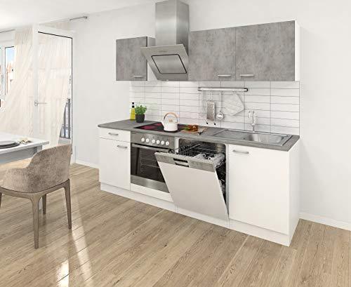 respekta Einbau Küche Küchenzeile Küchenblock 220 cm Weiss Beton Optik, inkl. Softclose Cerankochfeld Geschirrspülmaschine