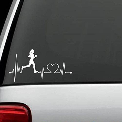 Bluegrass Decals K1008 Run Girl Heartbeat Marathon 13.1 26.2 Lauf-Aufkleber