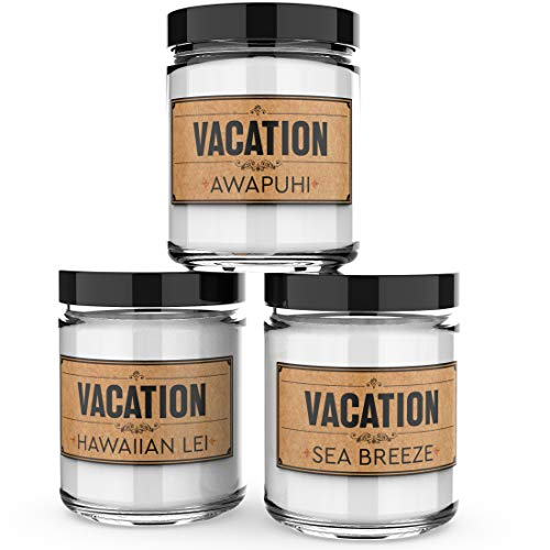 Scented Candles - Vacation -Decorative Aromatherapy - Handmade in The USA with Only The Best Fragrance Oils - 3 x 4-Ounce Soy Candles
