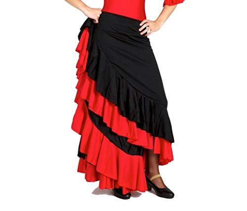 Falda de Flamenco Infantil con Dos Volantes en el bajo. Tejido de Calidad y con caída. Made in Spain. (Negro Rojo, 6 años)…