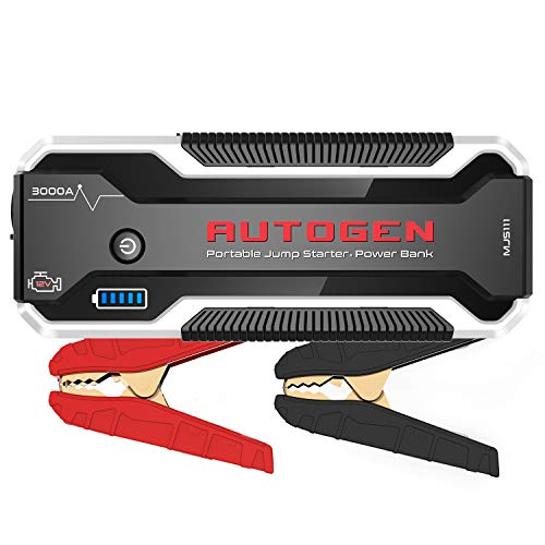 AUTOGEN 3000A Car Jump Starter (Up to 10.0L Gasoline & Diesel), 12V Portable Lithium Battery Jumper Box Booster Pack for Cars, SUVs, Trucks. Power Charger with Quick Charge 3.0