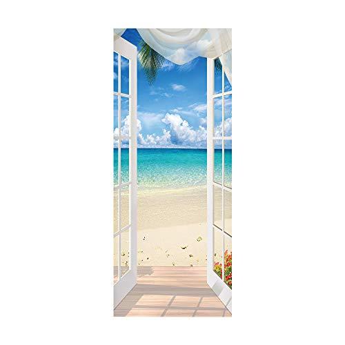 Etiqueta engomada de la puerta del arte KEXIU-3D, mural autoadhesivo de bricolaje extraíble e impermeable (paisaje de ventana junto al mar) 77*200cm