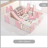 PNFP Baby-Laufstall, Kids Baby Fence Indoor-Spielplatz mit Rutsche oder Schaukel, Schaukelpferd,...