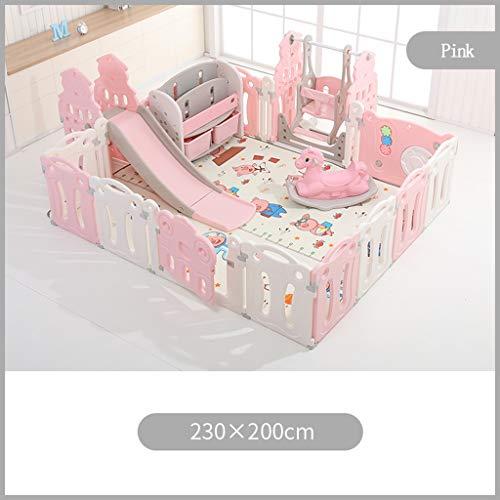 PNFP babyloopstal, speelplaats voor kinderen, met glijbaan of schommel, schommelpaar, balzwembad, opslagrek, groot activiteitencent, gratis combinatieinstallatie