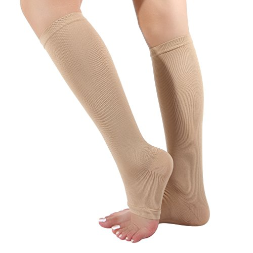 EOZY Kompressionsstrümpfe Stützstrümpfe mit offener Spitze Gegen Reisethrombose & geschwollene Beine hautfarben M