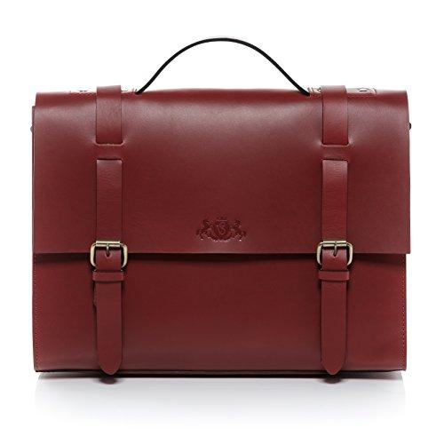 SID & VAIN Aktentasche echt Sattel-Leder Boston groß Businesstasche 15.6