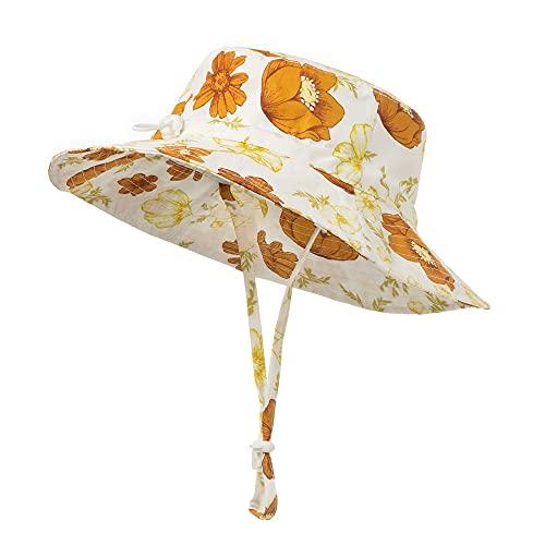 Highdi Sombrero de Sol para Niños, Sombrero Pescador Verano Niña Moda Floral Impresión Gorra de Sol con Correa de Barbilla Ajustable, Bebé Sombrero de Playa (Rododendro,S(46-50cm))