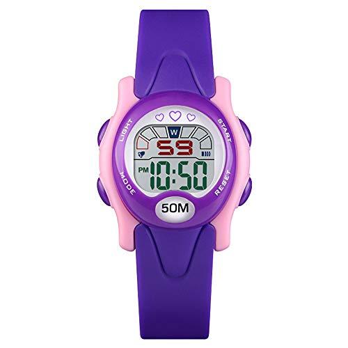 Relojes Digitales para Niños, Reloj Digital Deportivo para Niños Y Niñas-50m A Prueba De Agua con Calendario De Fecha Reloj Despertador Cronógrafo Luminoso Reloj De Pulsera Electrónico para Niños
