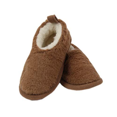 Primo Line Hüttenschuhe für Kleinkinder-gefütterte Hausschuhe für Mädchen und Jungen - warme Pantoffeln aus Merinowolle (30-31 EU)