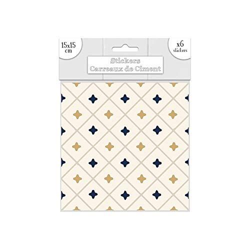 6 Stickers carreaux de ciment 15x15 cm cd3895