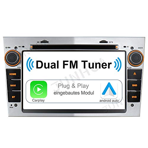 Android 10 Carplay Android Auto 2GB+32GB Dual-Tuner-Radio Bluetooth5.0 DSP DAB+ WiFi USB Navi Autoradio DVD GPS Touch Screen für OPEL Astra Corsa C D Vivaro Antara Vectra Zafira (Silber)