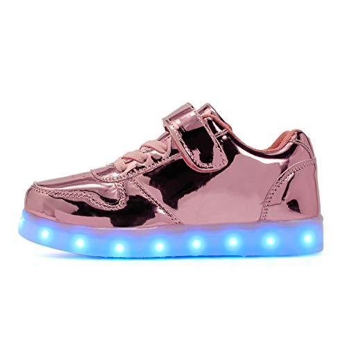 NEYOU Zapatillas de deporte con luces LED transpirables y intermitentes, con luces USB cargables, 2 Rosaa, 31 EU