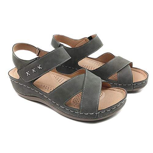 CNSELLER Sandálias femininas de bico aberto, sandálias casuais de couro PU para o verão, ao ar livre, caminhadas, praia, lazer, arco plano